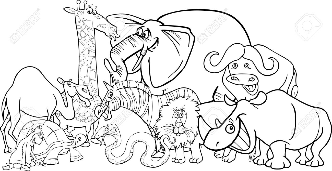 Black And White Cartoon Illustration Of Funny African Safari Wild Animals Group For Coloring Book Stock