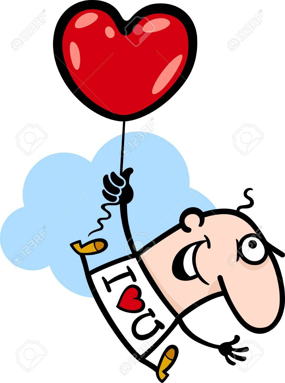 cartoon illustration of funny man flying with valentine heart