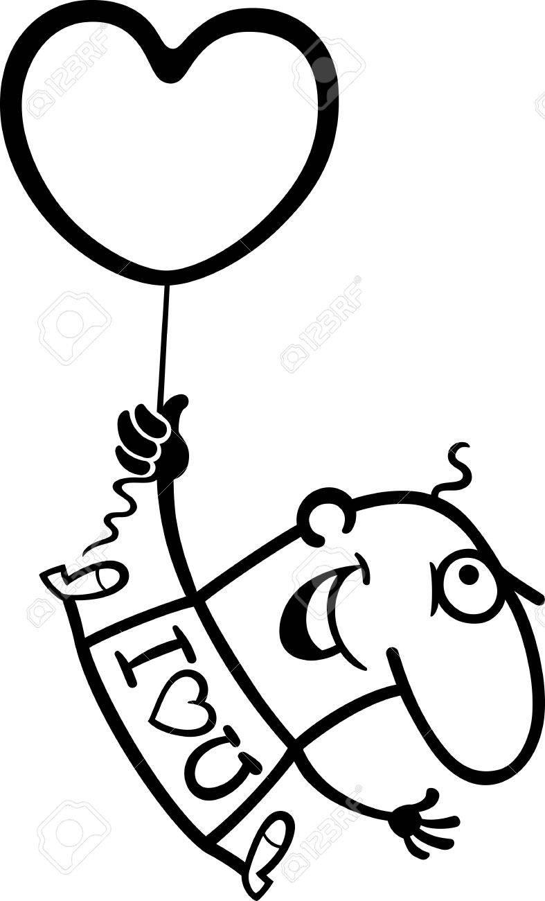 Illustration De Dessin Animé En Noir Et Blanc De Funny Man De Vol Avec Le Ballon En Forme De Coeur Pour Valentine Saint Valentin