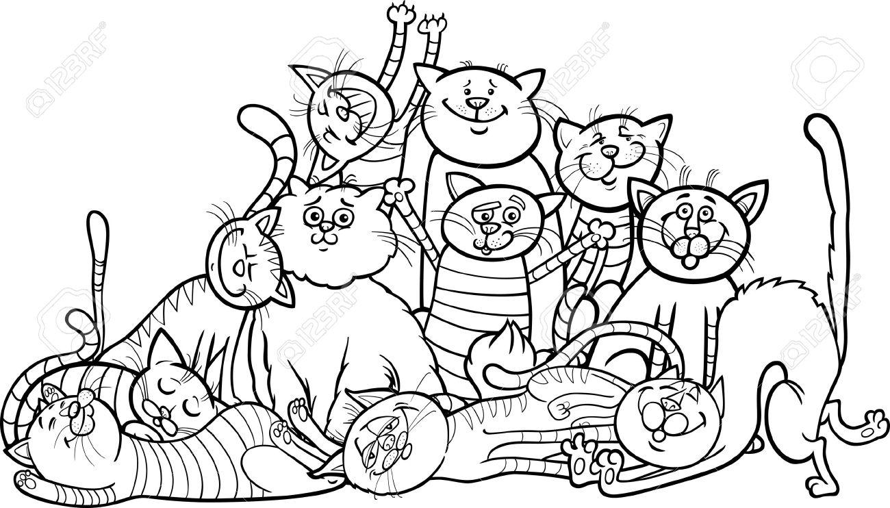 Historieta Blanco Y Negro Ilustración De Gatos Gatitos Felices O ...