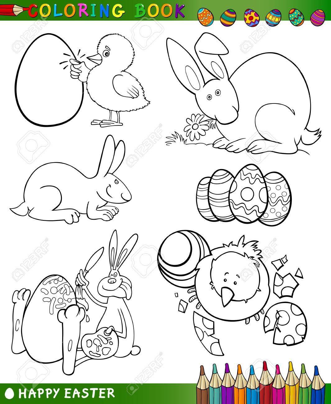 Temas Pascua Set Colección De Ilustraciones De Dibujos Animados En Blanco Y Negro Para Colorear Libro