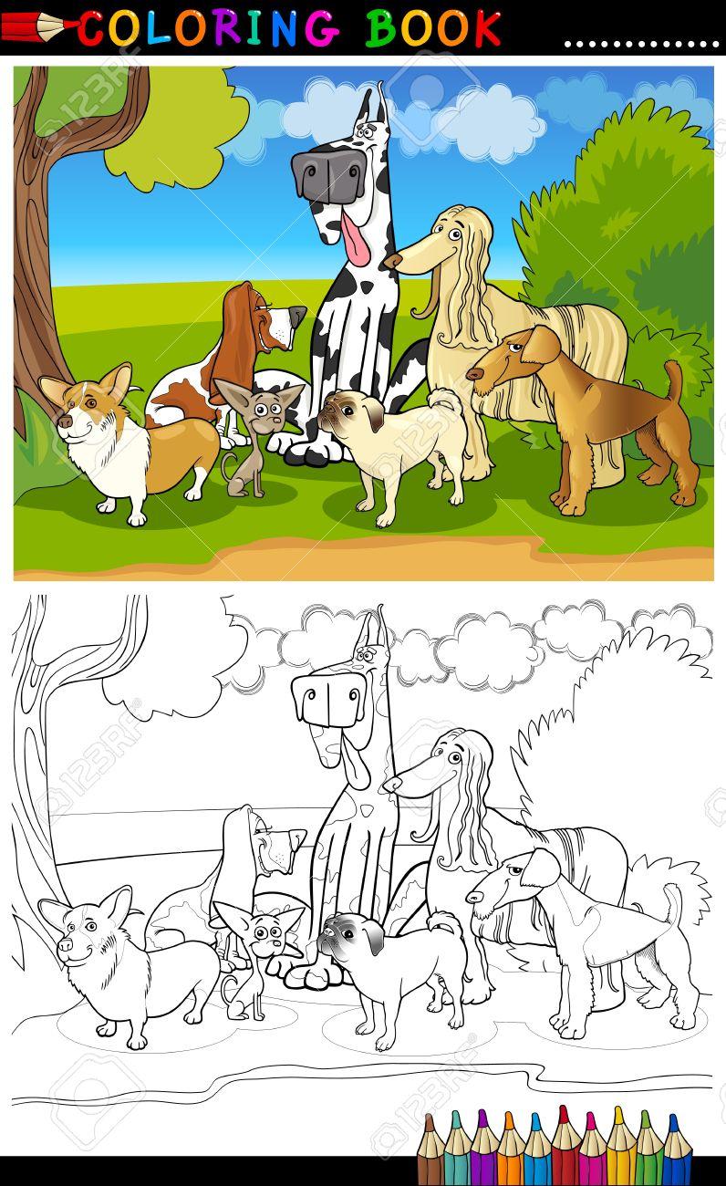cartoon illustration of funny purebred dogs like corgi pug