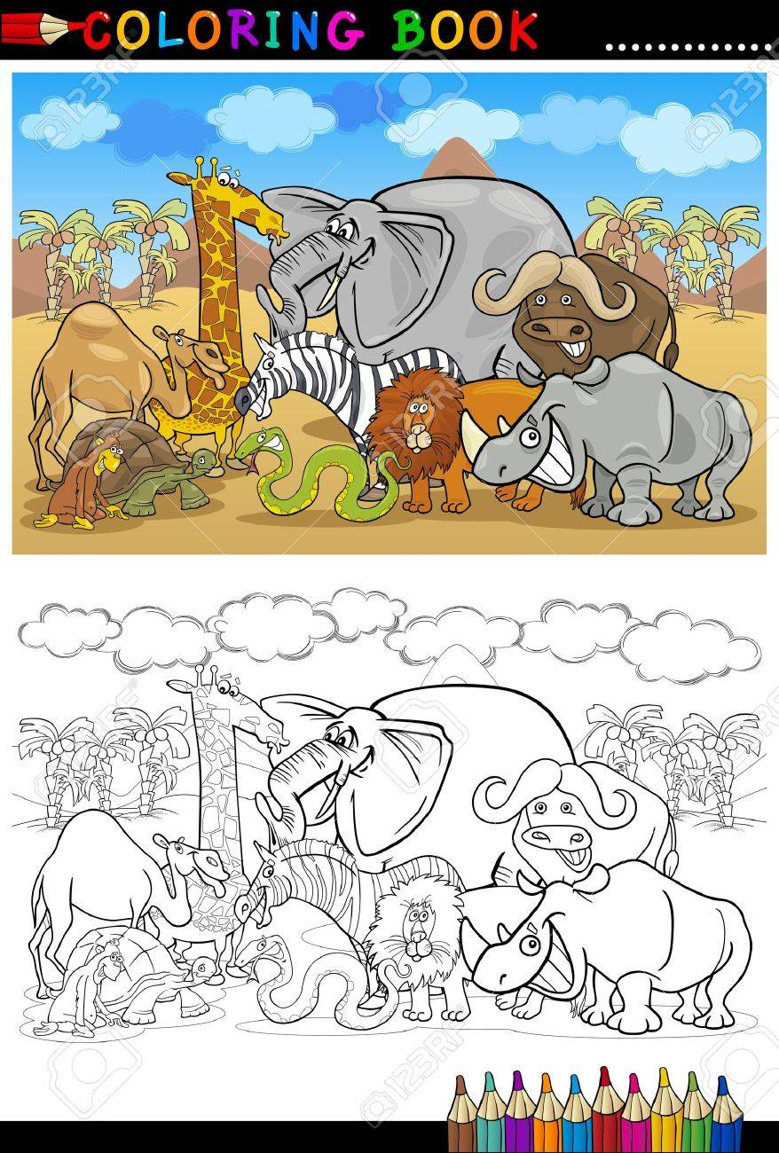 Cartoon Illustration Von Funny Safari Wilde Tiere Wie Elefant ...