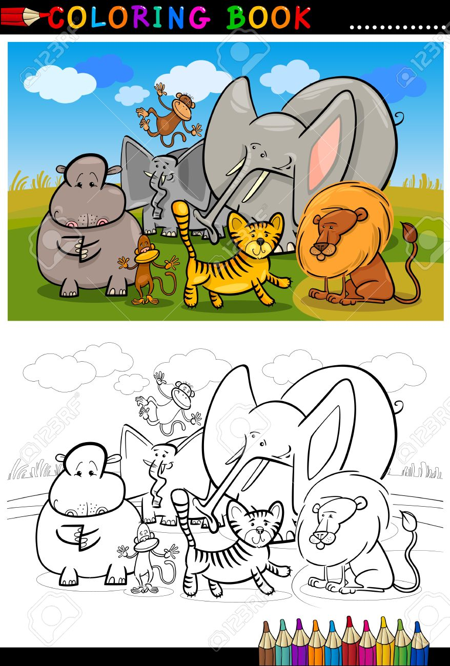 Cartoon Illustration Of Funny African Wild Animals Like Elephant Hippo Lion And Monkey For
