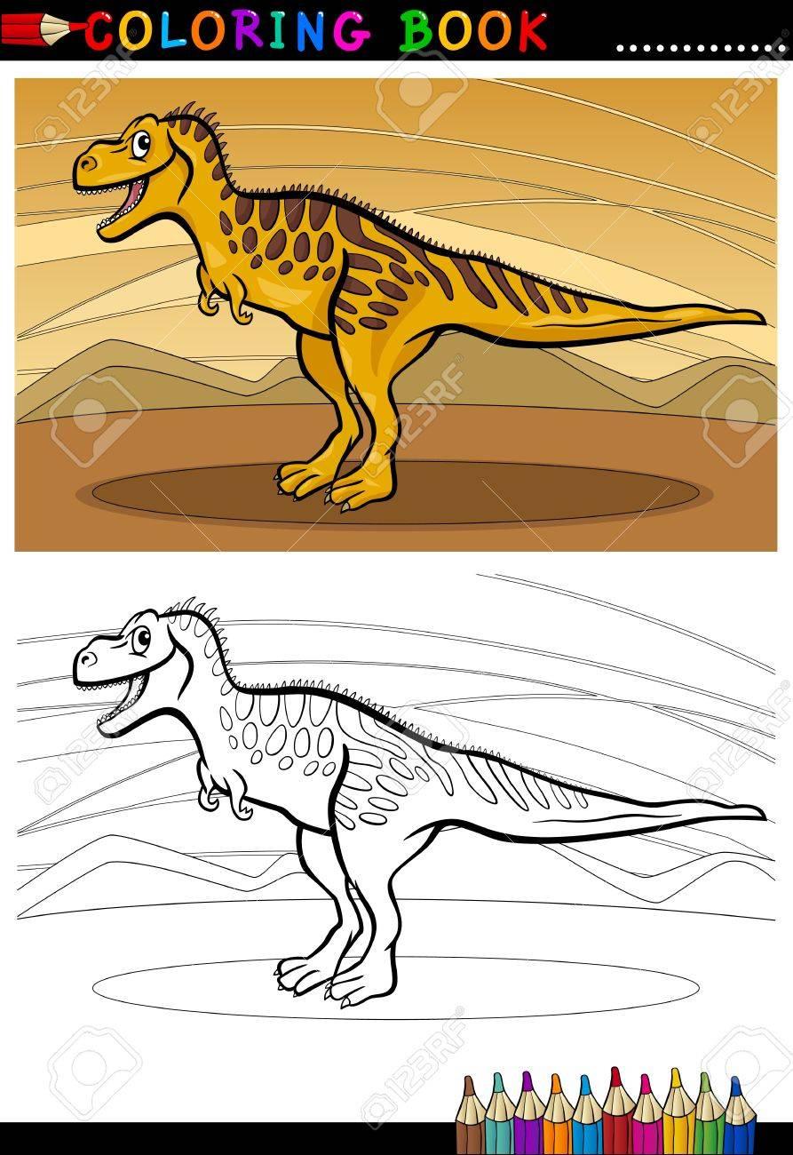 Cartoon Illustration of Tarbosaurus Dinosaur Reptile Species in Prehistoric World for Coloring Book and Education Stock Vector - 17560125