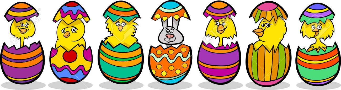 Cartoon Illustration of Six Little Yellow Chickens or Chicks and one Easter Bunny in Colorful Eggshells of Easter Eggs Stock Vector - 17560099