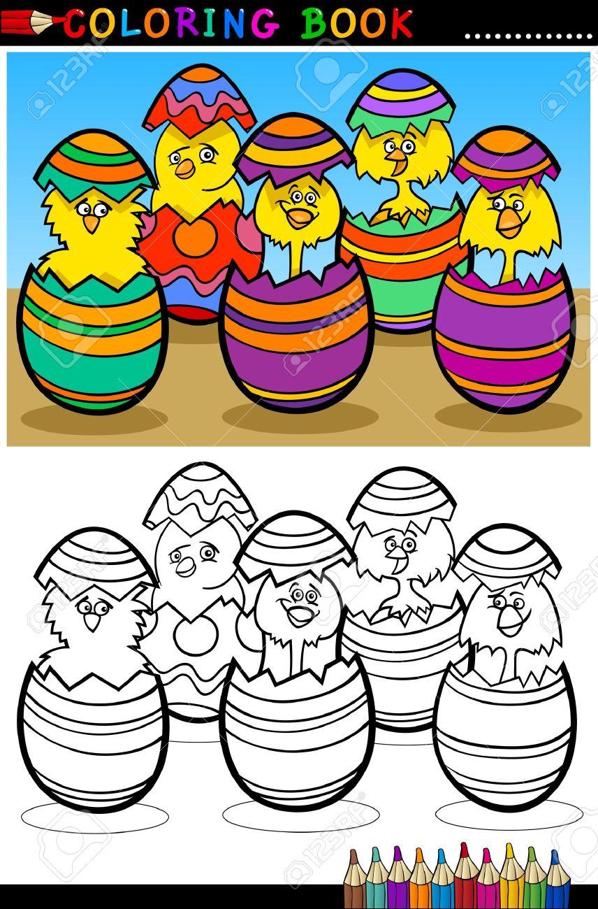 Ilustración De Dibujos Animados De Los Cinco Pollitos Amarillos O ...