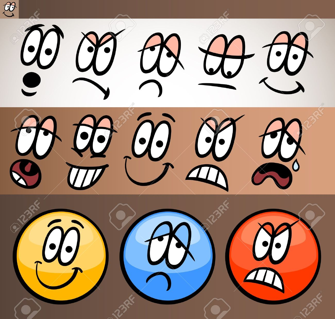 Cartoon Illustration of Funny Emoticon or Emotions and Expressions like Sad, Happy, Angry or Skeptic Stock Vector - 17560130
