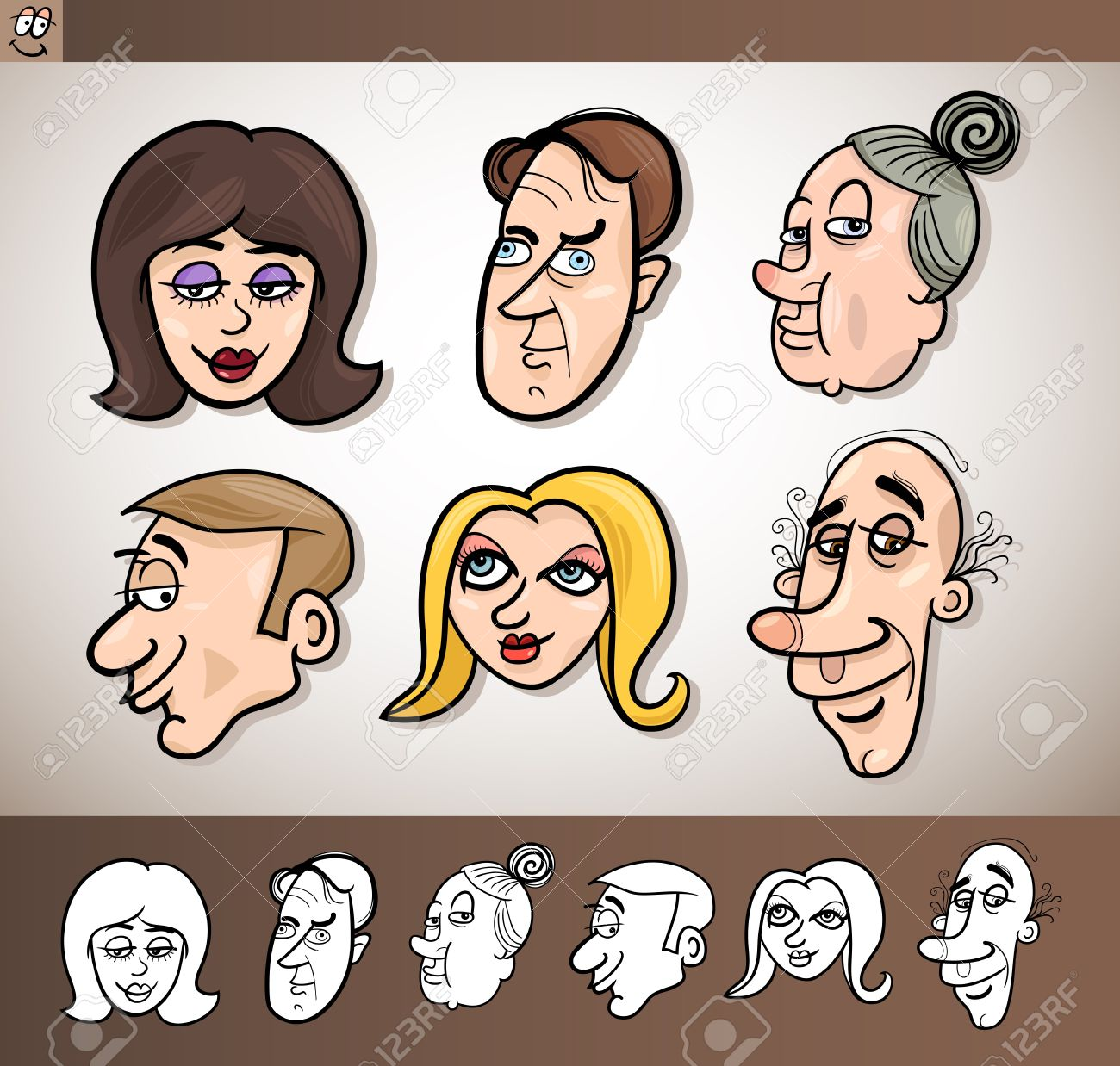 Cartoon Illustration of Funny People Set with Men and Women Heads plus Black and White versions Stock Vector - 17560137
