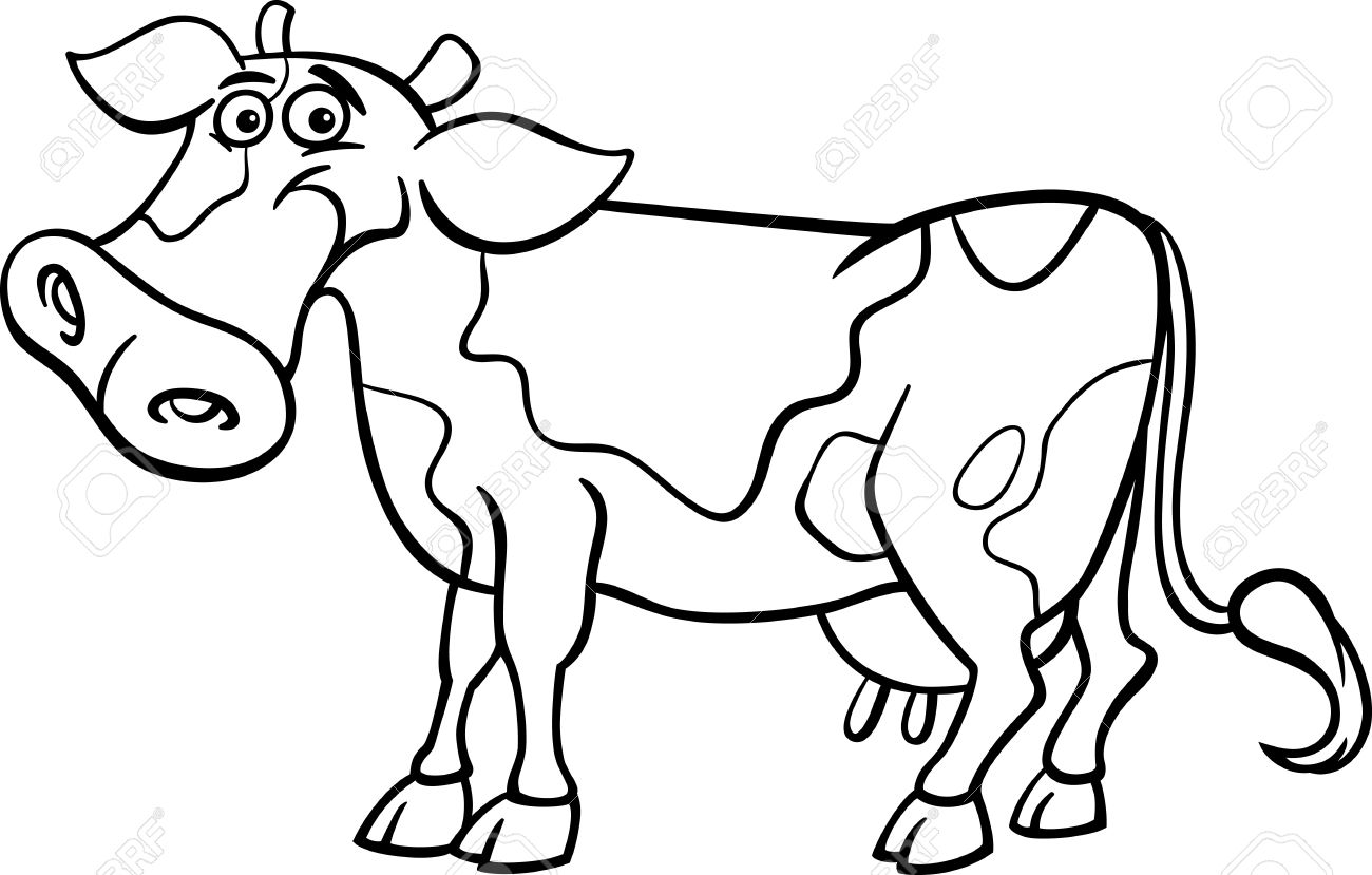 Black And White Cartoon Illustration Of Funny Spotted Cow Farm Animal For Coloring Book Stock Vector