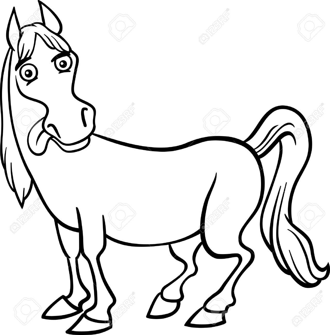 black and white cartoon illustration of funny horse farm animal