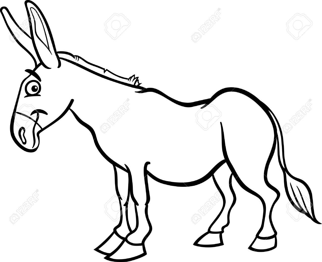 Farm animal horse coloring pages - Black And White Cartoon Illustration Of Funny Donkey Farm Animal For Coloring Book Stock Vector