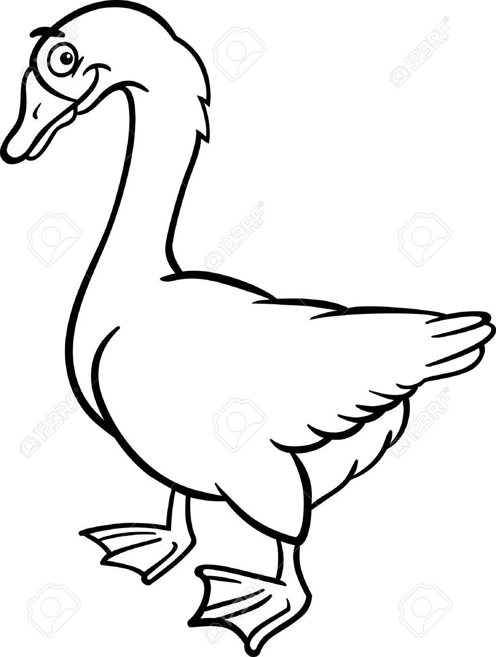 本を着色面白いガチョウ ファーム鳥、動物の黒と白の漫画イラスト