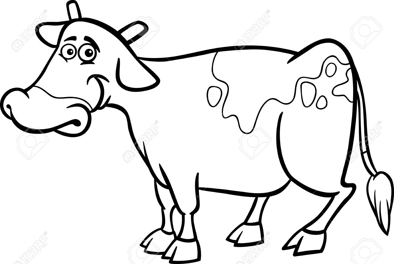 Black And White Cartoon Illustration Of Funny Cow Farm Animal For Coloring Book Stock Vector