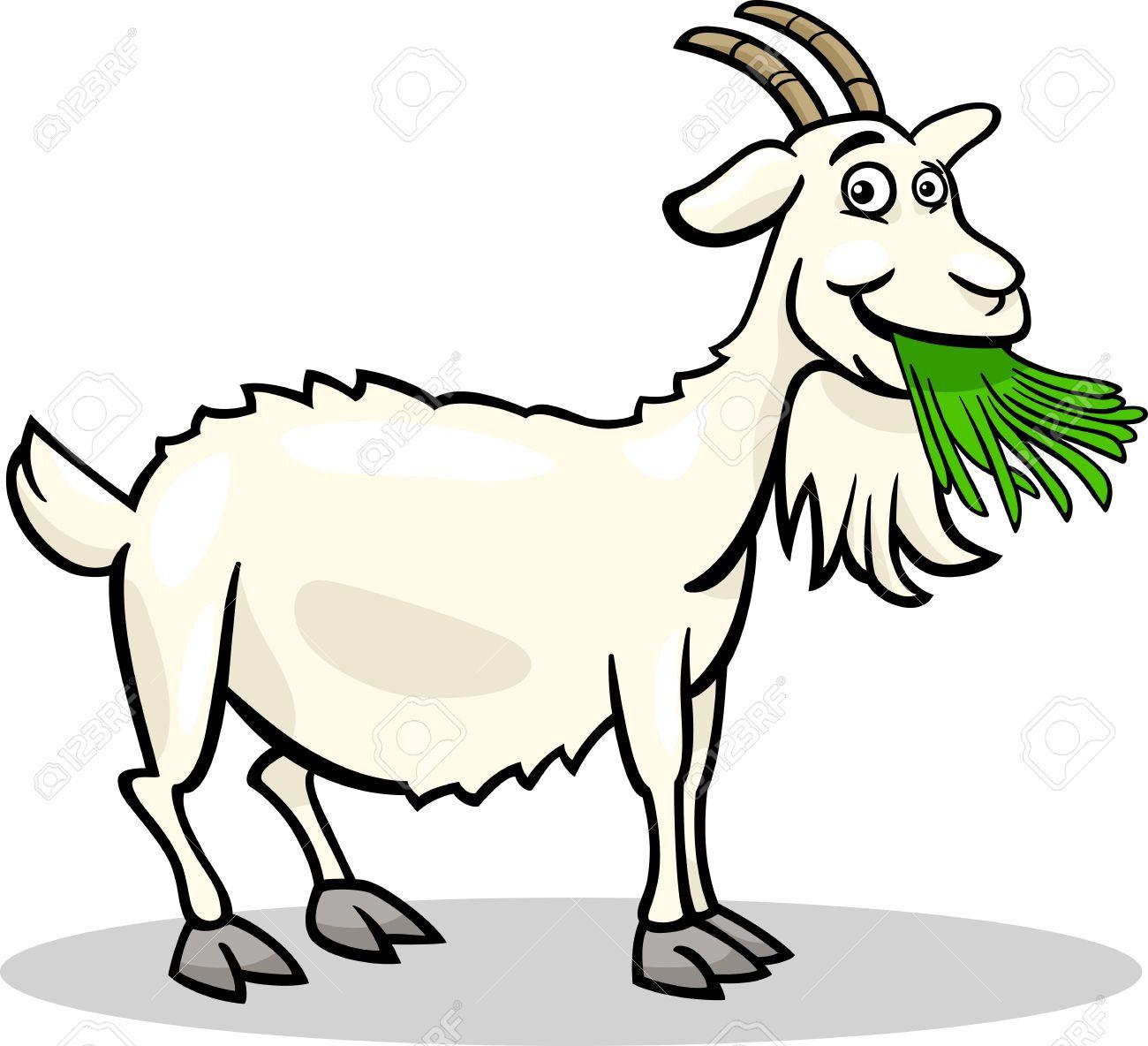 面白いヤギの農場の動物の漫画イラストのイラスト素材ベクタ Image