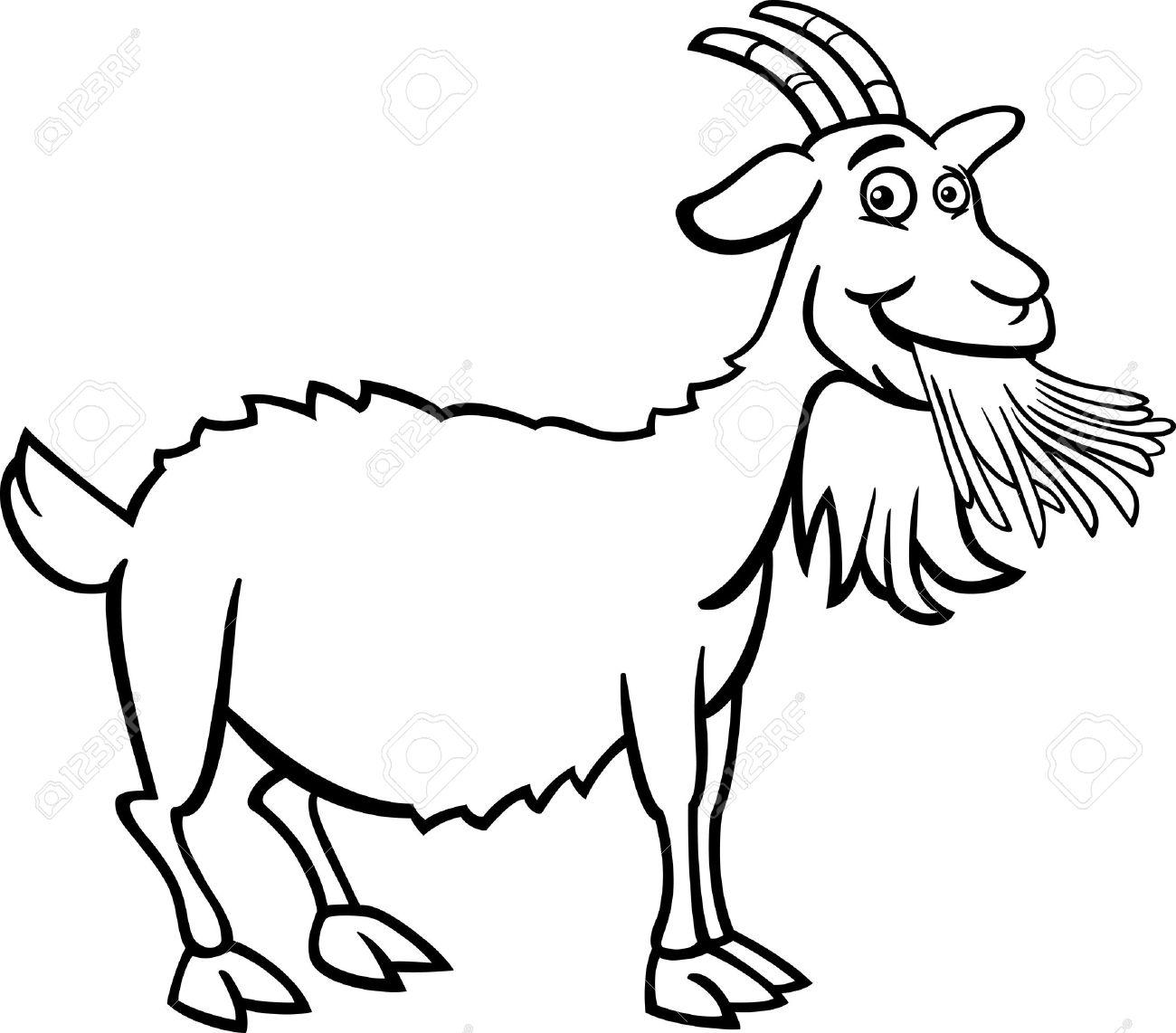Black And White Cartoon Illustration Von Funny Goat Nutztiere Für