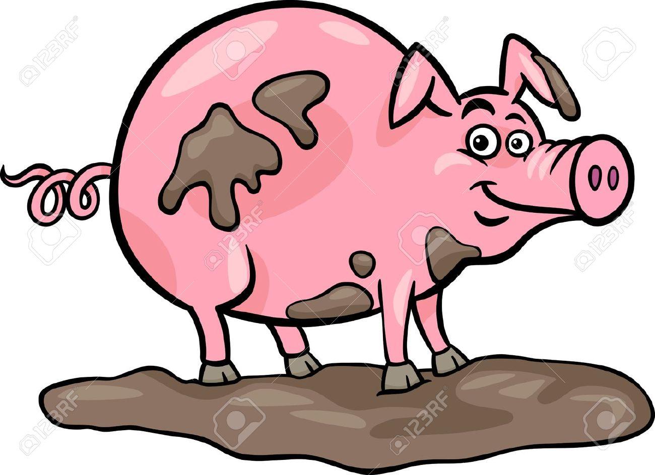 Cartoon Illustration of Funny Pig Farm Animal in Mud - 17897762