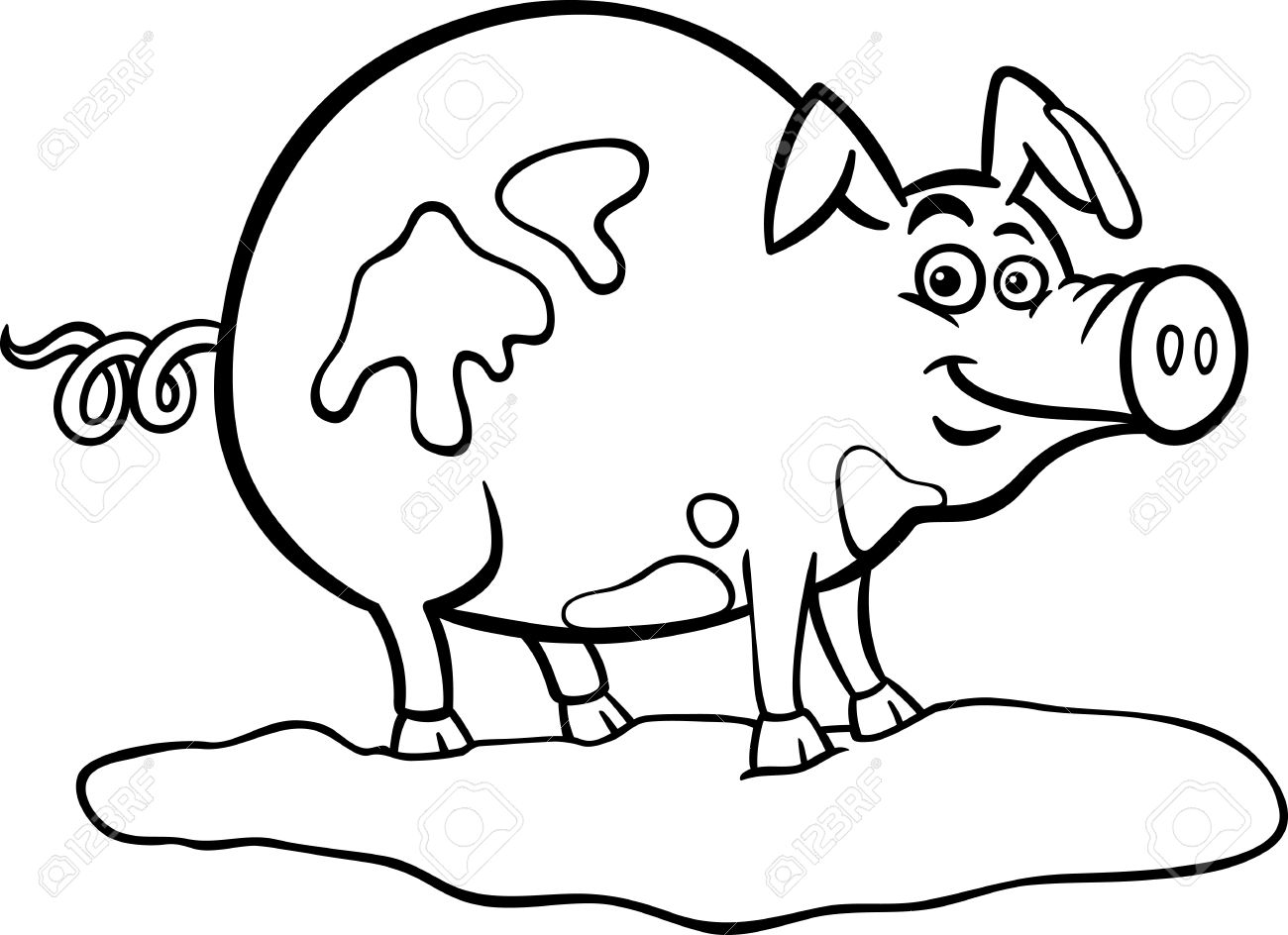 black and white cartoon illustration of funny pig farm animal in mud for coloring book stock