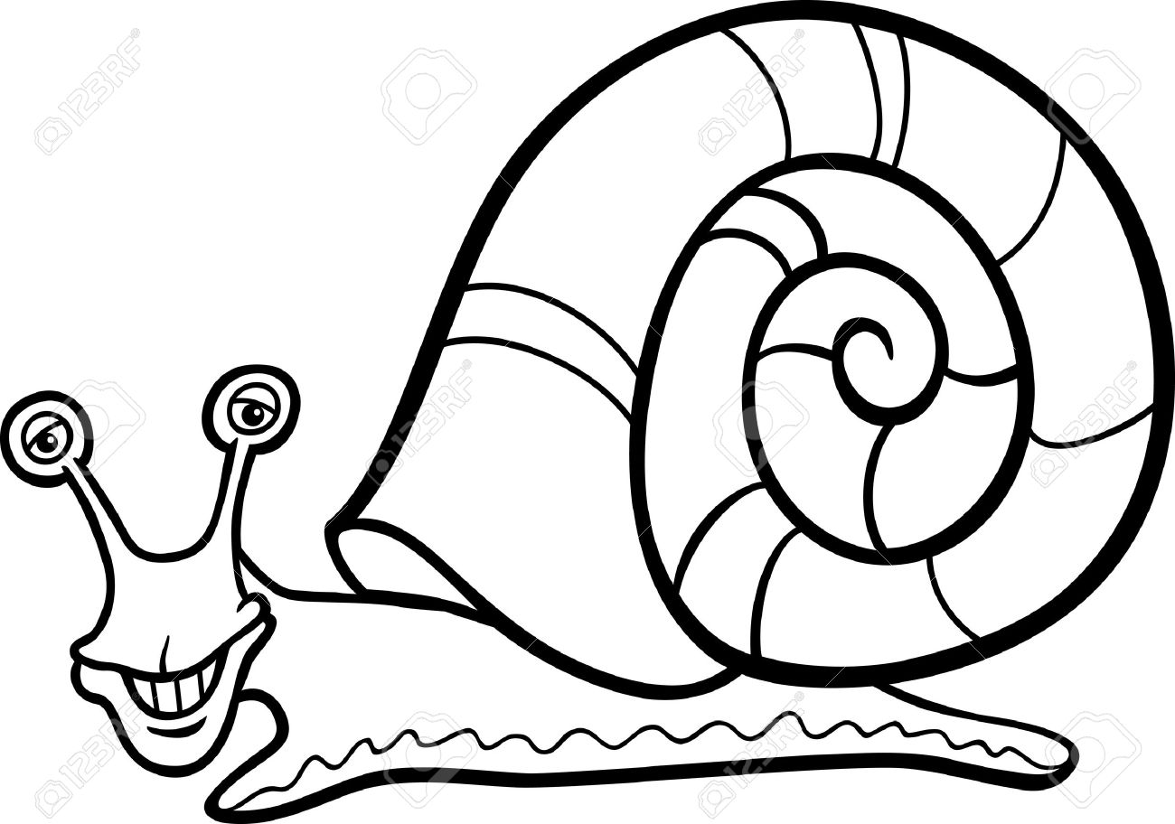 Black And White Cartoon Illustration Of Funny Snail Mollusk With Shell For Coloring Book Stock Vector
