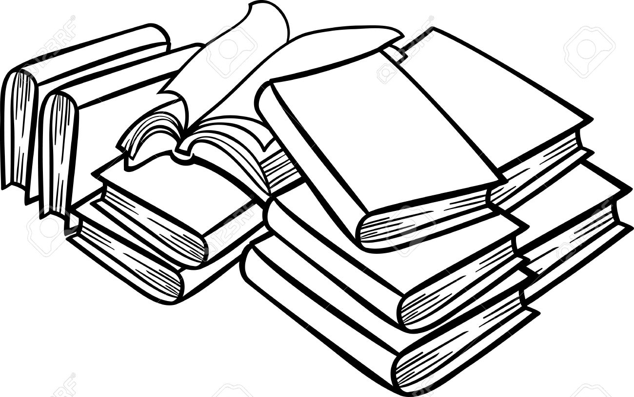 Bücherstapel clipart schwarz weiß  Black And White Cartoon Illustration Der Bücher In Einem Heap ...