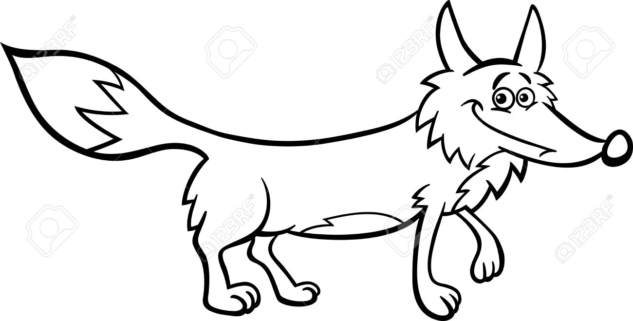 black and white cartoon illustration of funny wild fox animal for coloring book stock vector