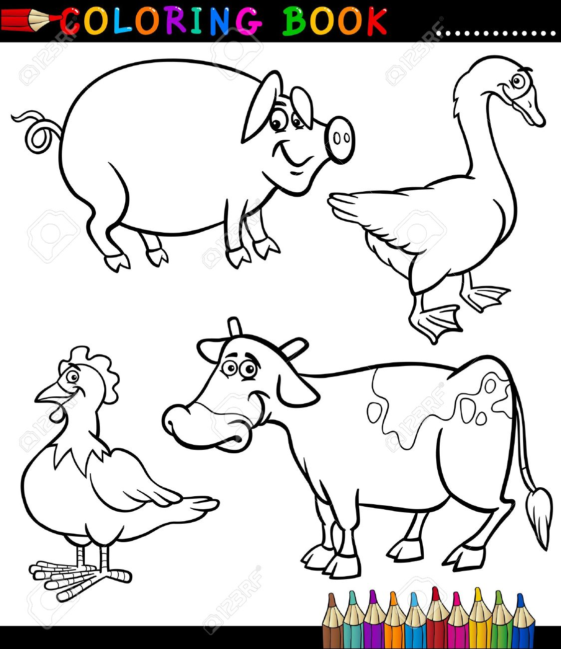 Livre De Coloriage Noir Et Blanc Ou Page Cartoon Illustration Set De