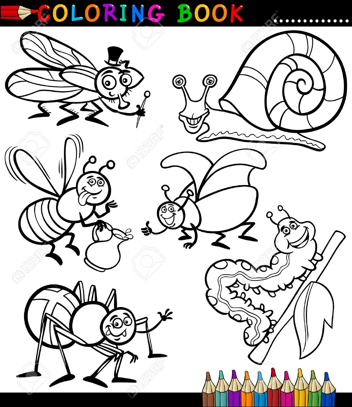 housefly black and white coloring book or page cartoon illustration set of funny insects and
