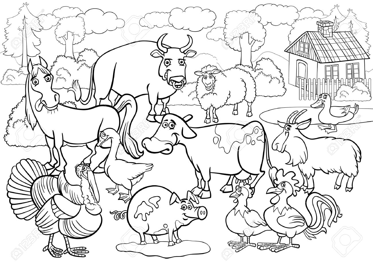 Black And White Cartoon Illustration Of Country Scene With Farm ...