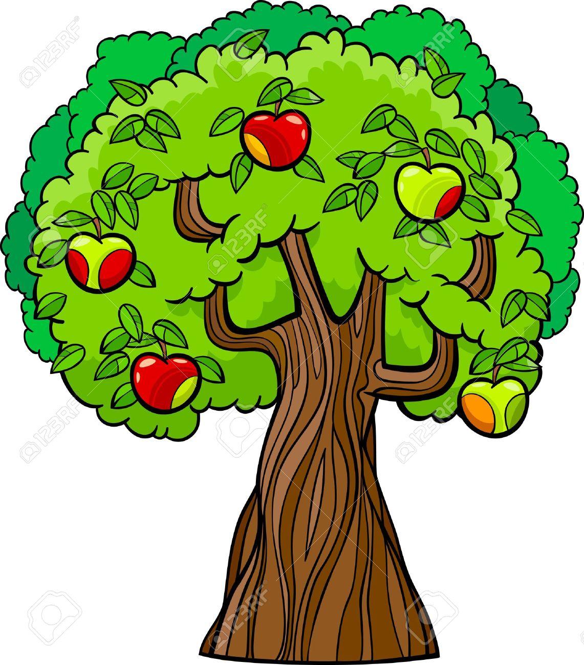 Cartoon Illustration Of Apple Tree With Juicy Apples Royalty Free ...