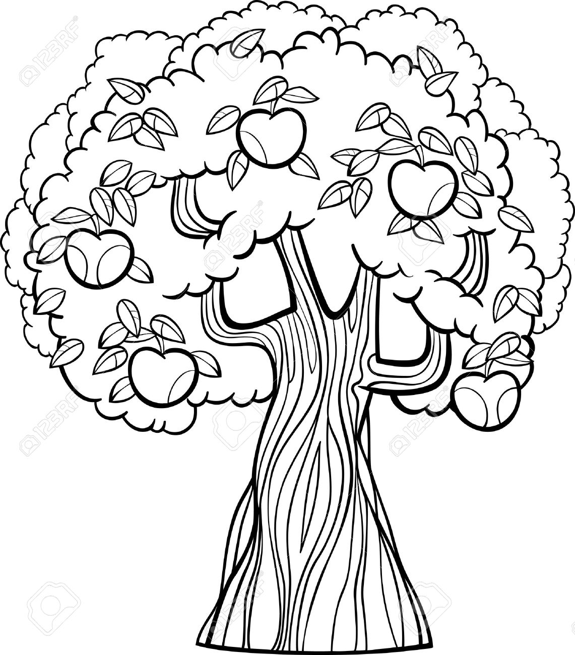 Black And White Cartoon Illustration Of Apple Tree With Apples