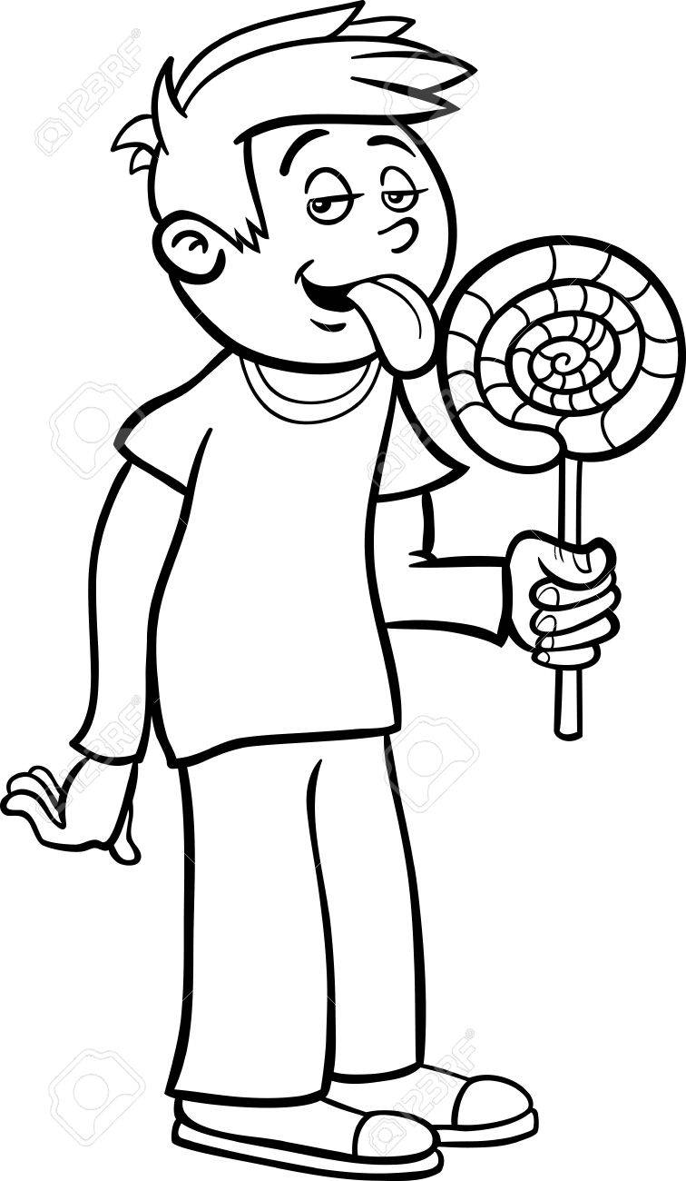 black and white cartoon illustration of cute boy with big lollipop