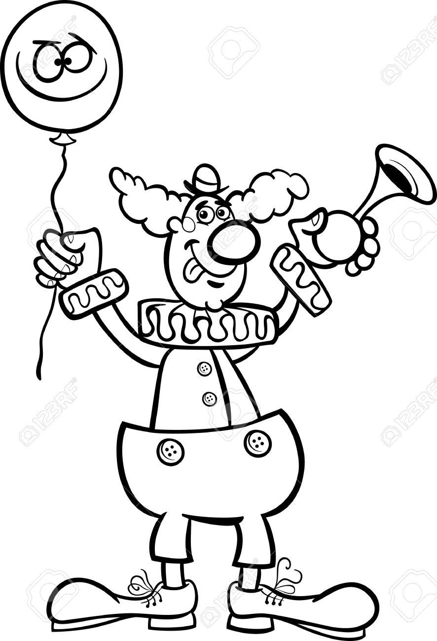 Illustration De Dessin Animé En Noir Et Blanc De Clown Drôle Avec Le Ballon Et De La Corne De L Air Pour Coloring Book