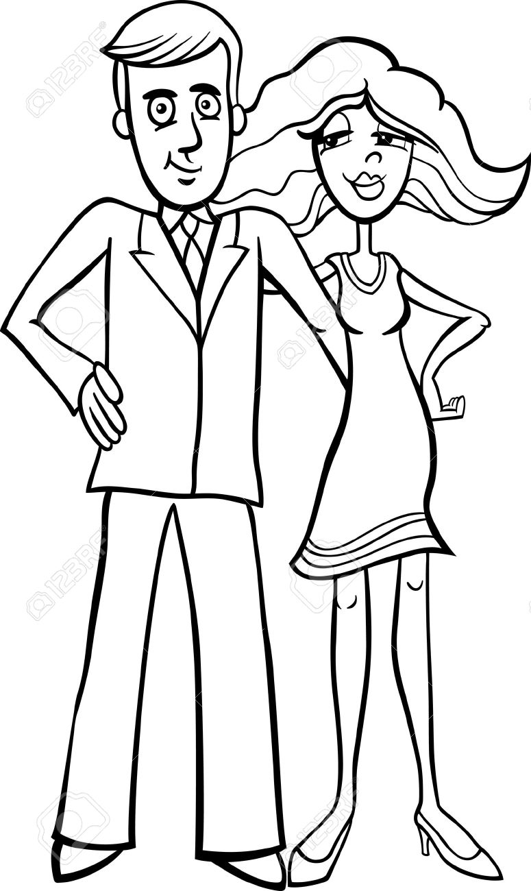 Black and white cartoon illustration of pretty woman and handsome