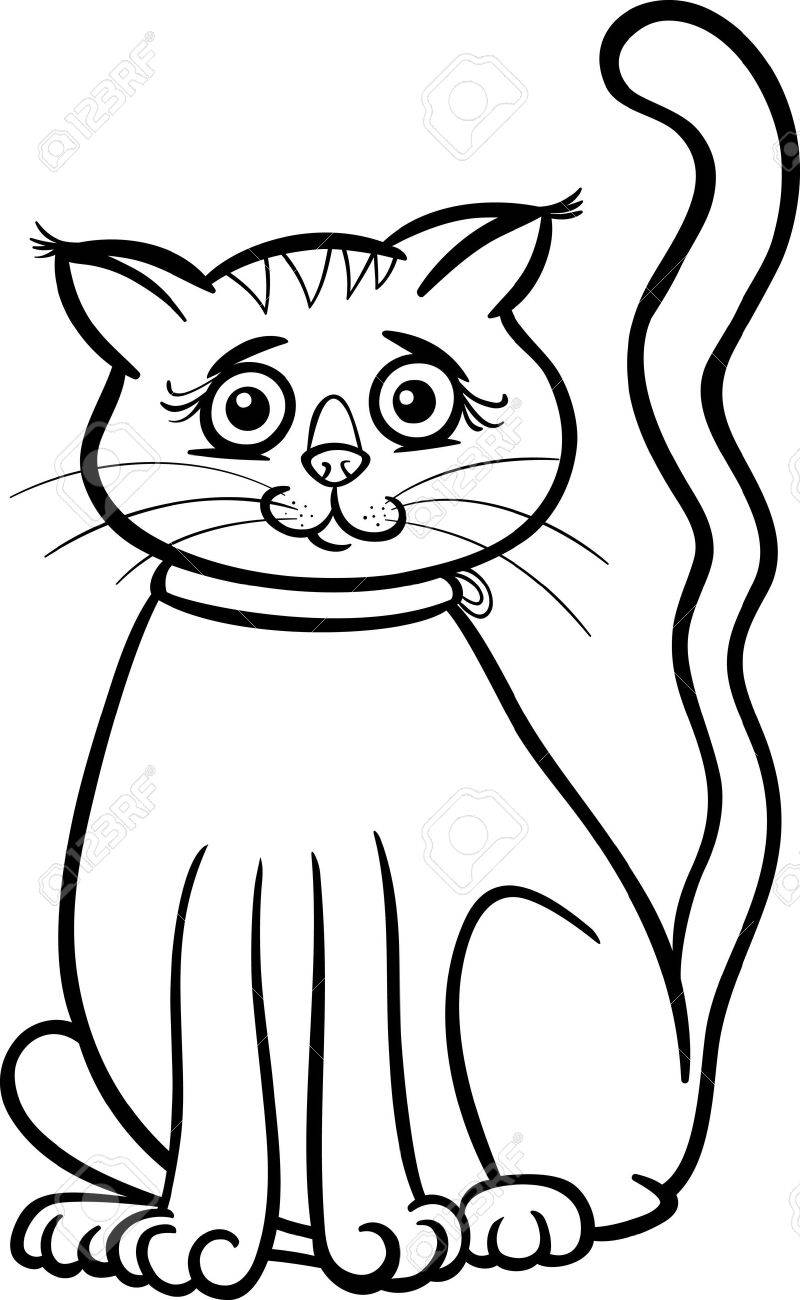 black and white cartoon illustration of cute female cat or kitten royalty free cliparts vectors and stock illustration image 18032304 black and white cartoon illustration of cute female cat or kitten
