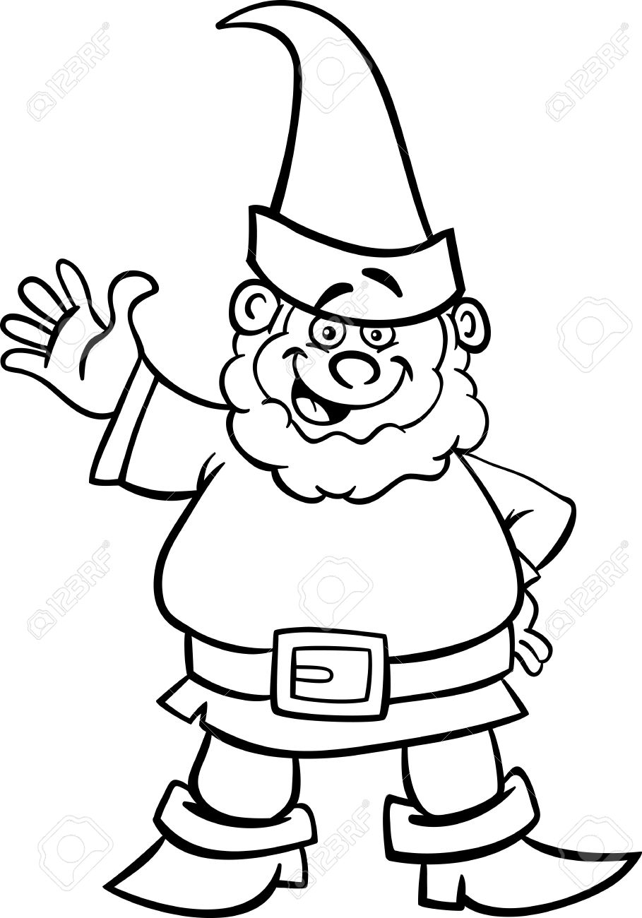 Christmas Gnome Clipart Black And White.Black And White Cartoon Illustration Of Fantasy Gnome Or Dwarf