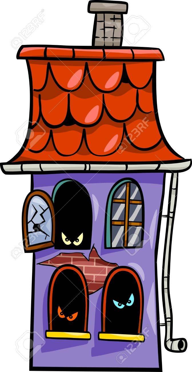 Ilustración De Dibujos Animados De La Casa Embrujada De Halloween ...