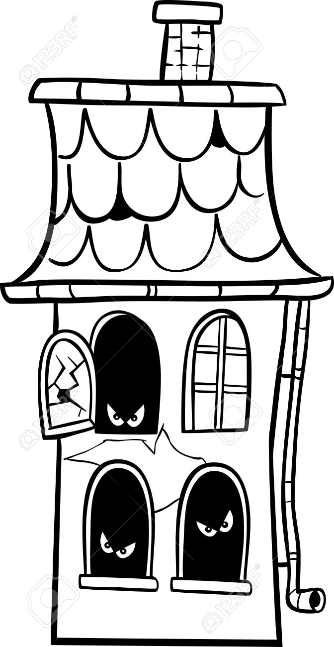 black and white cartoon illustration of scary halloween haunted rh 123rf com Haunted House Clip Art Coloring Pictures of Haunted Houses Clip Art