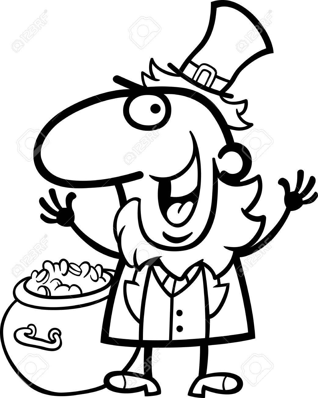 black and white cartoon illustration of happy leprechaun with