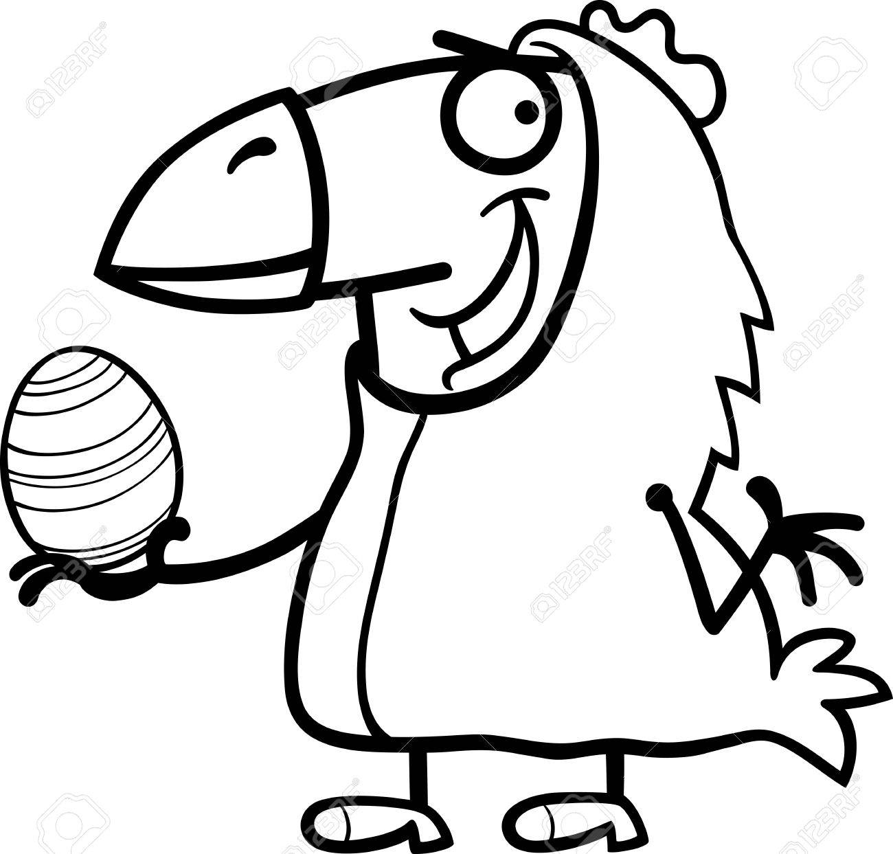 Black And White Cartoon Illustration Von Funny Man In Easter Chicken ...