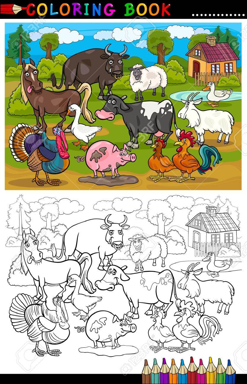 Coloring book pages farm animals - Coloring Book Or Coloring Page Cartoon Illustration Of Funny Farm And Livestock Animals For Children Education
