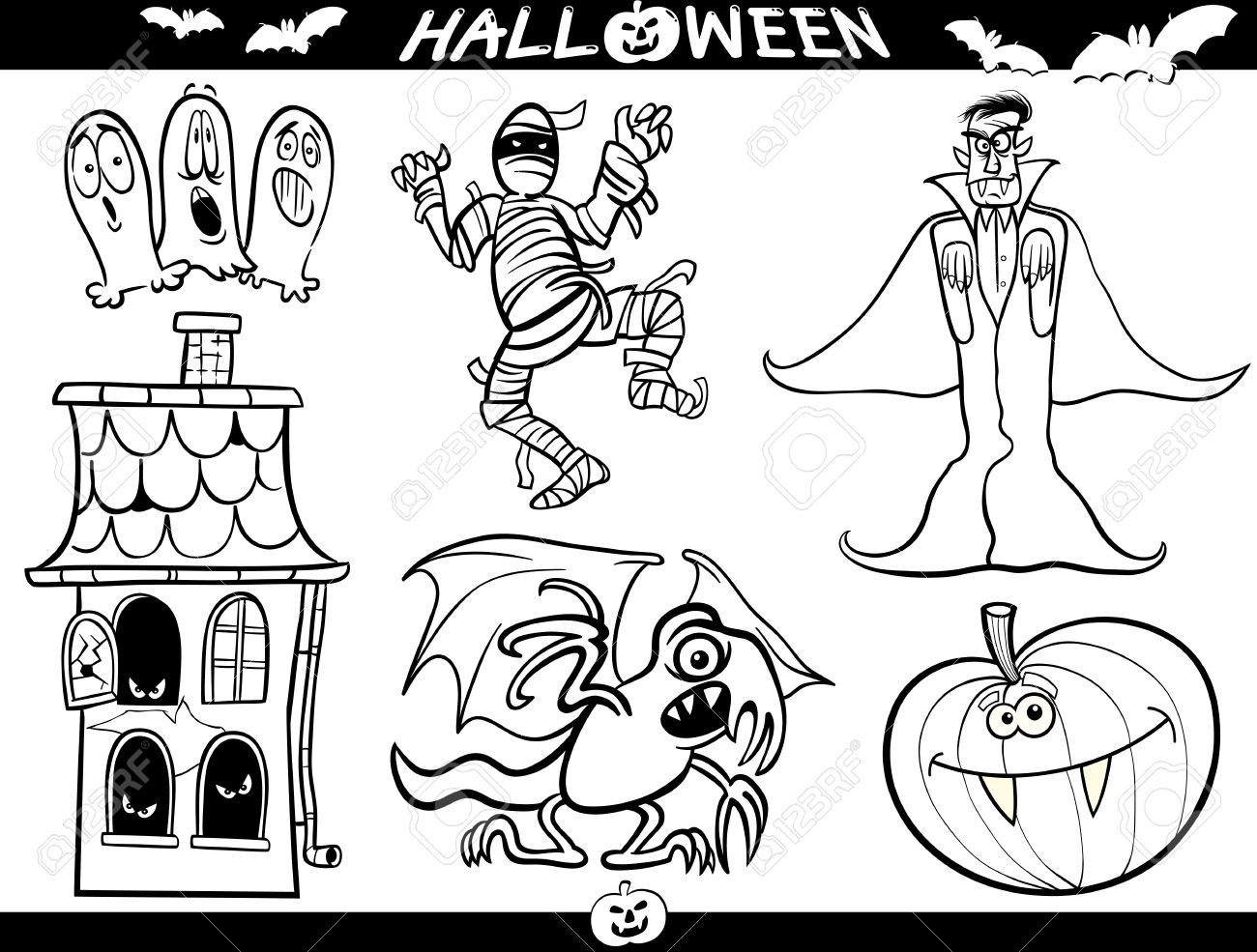 Cartoon illustration of halloween themes vampire or count dracula mummy haunted house