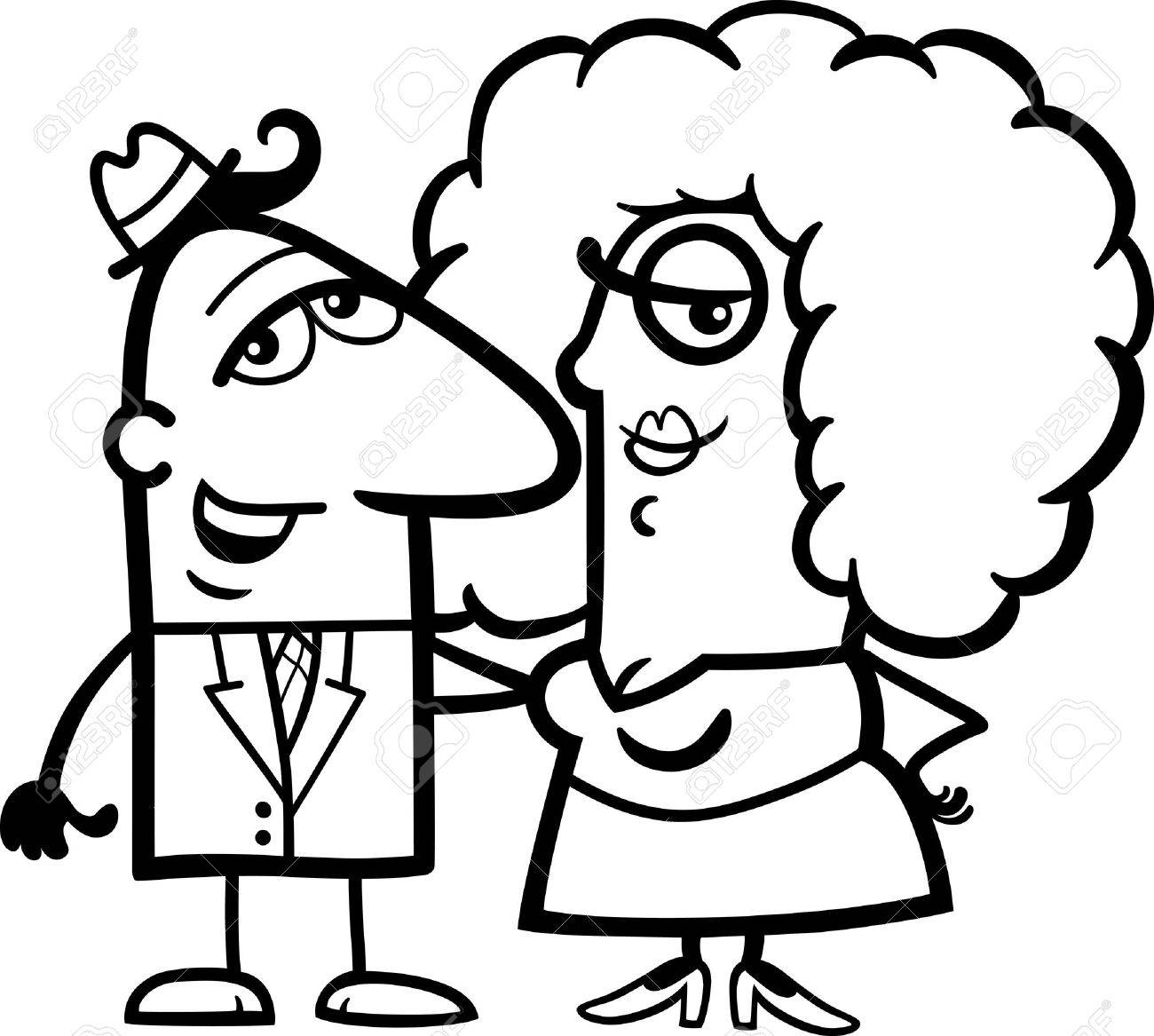 Black And White Cartoon Illustration Of Funny Man Woman Couple In Love For Coloring Book
