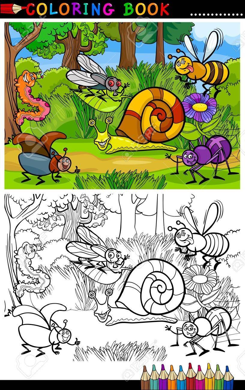 Malbuch oder Malvorlagen Cartoon Illustration von Funny Insekten oder Bugs  auf der Wiese für Kinder Bildung