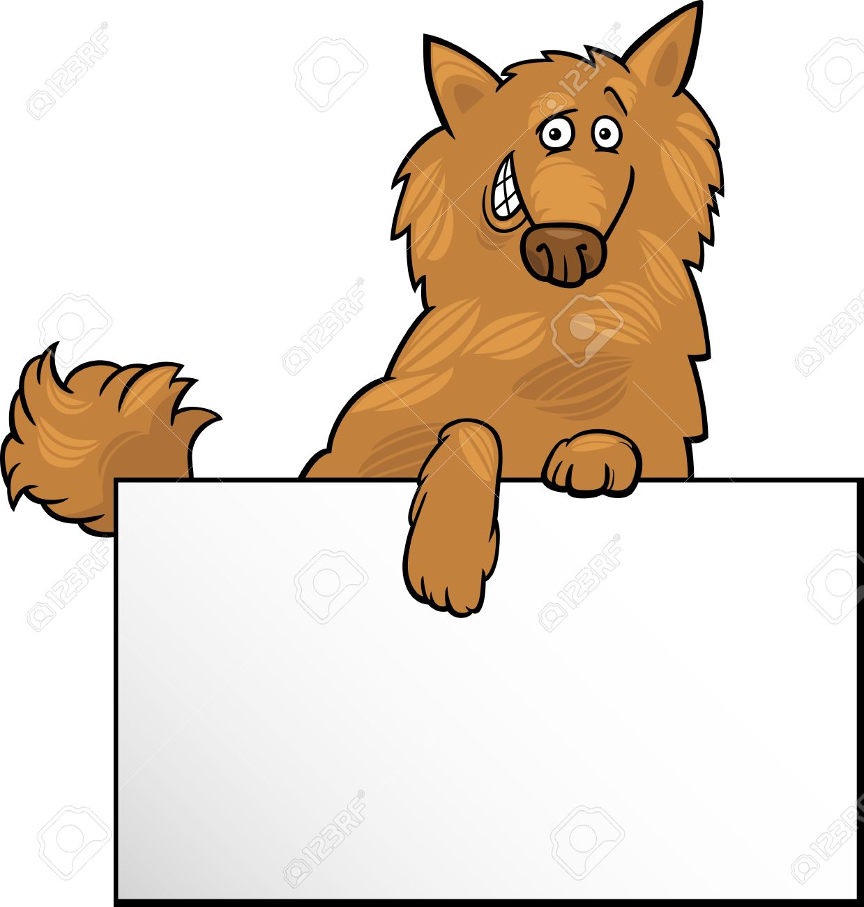 Cartoon Illustration Of Funny Shaggy Dog With White Card Or Board ...