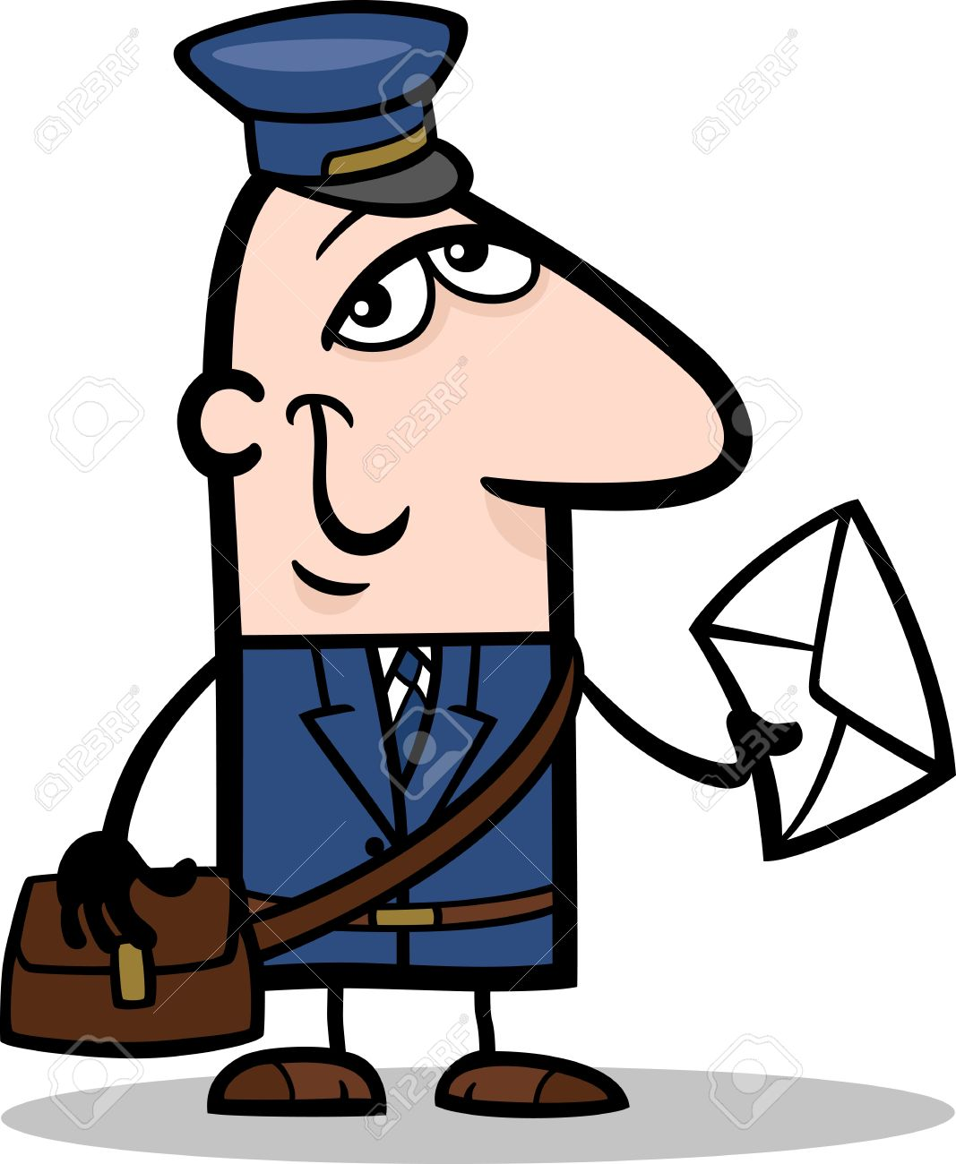 Cartoon Illustration of Funny Postman with Letter Profession Occupation Stock Vector - 18765056