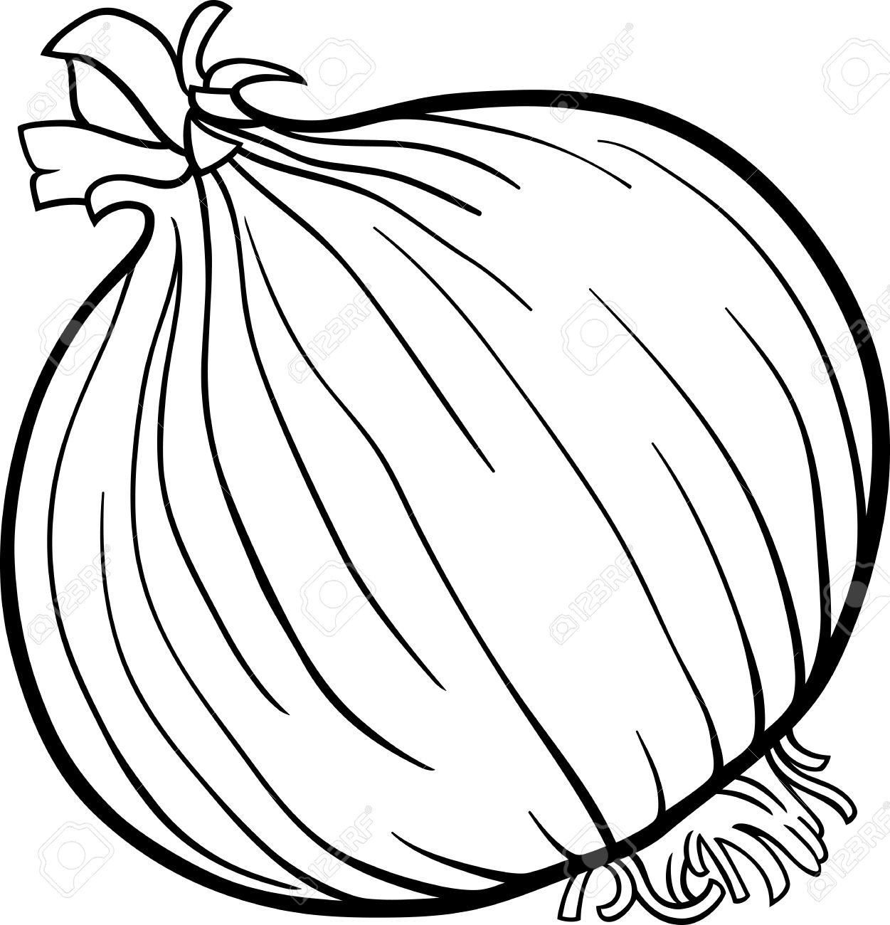 Black And White Cartoon Illustration Of Onion Root Vegetable ...