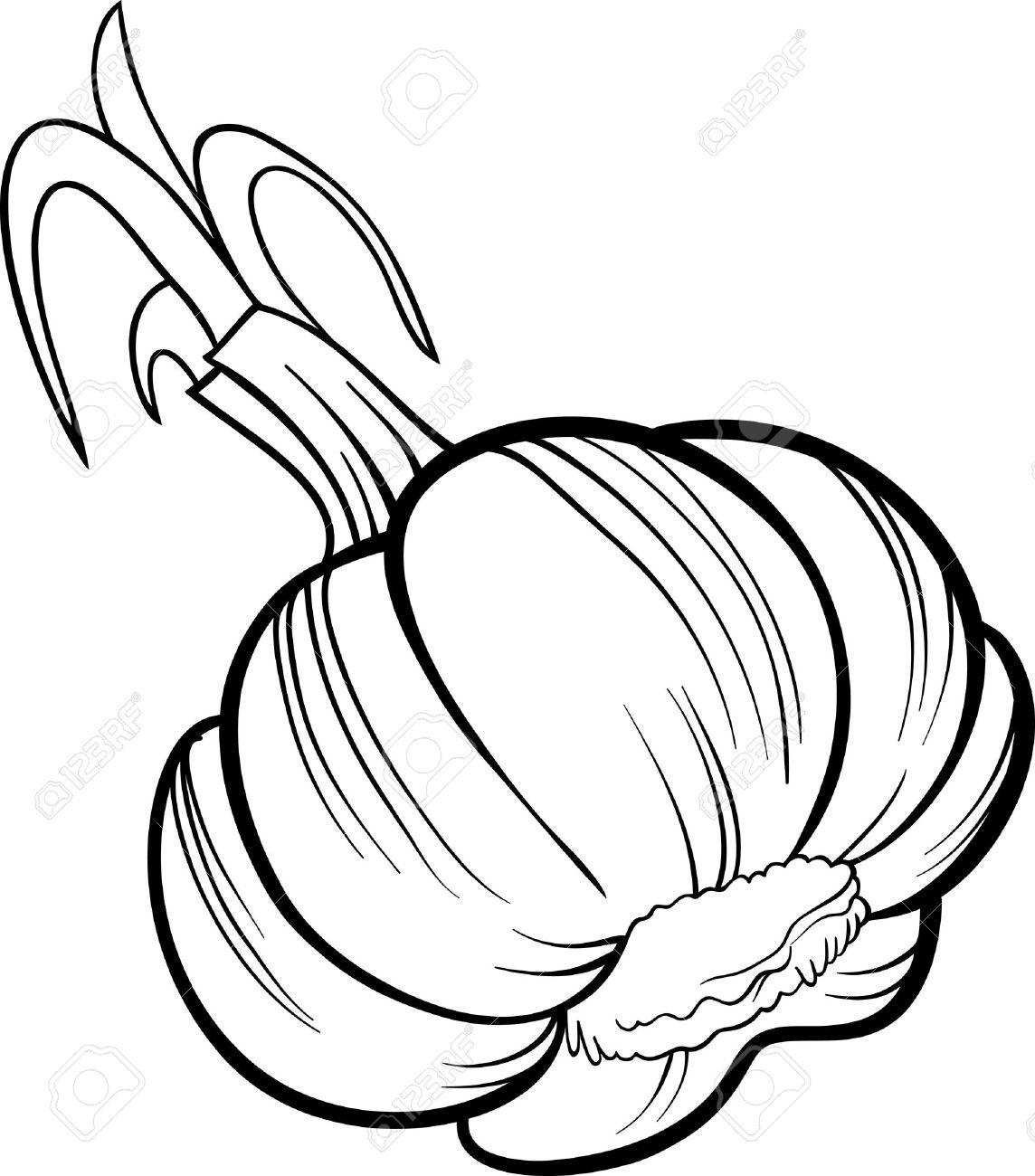 Coloriage Pomme Et Oignon Dessin Anime.Illustration De Dessin Anime Noir Et Blanc D Un Objet De Nourriture Pour Legumes A La Tete D Ail Pour Cahier De Coloriage