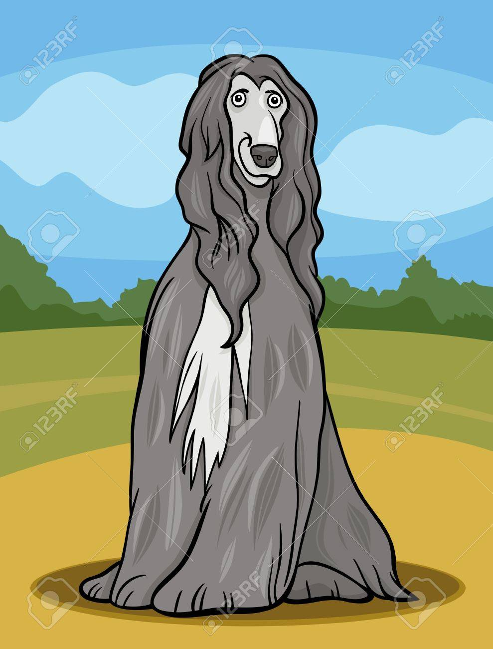 Cartoon Illustration of Cute Afghan Hound Purebred Dog and Rural Landscape Stock Vector - 19087110