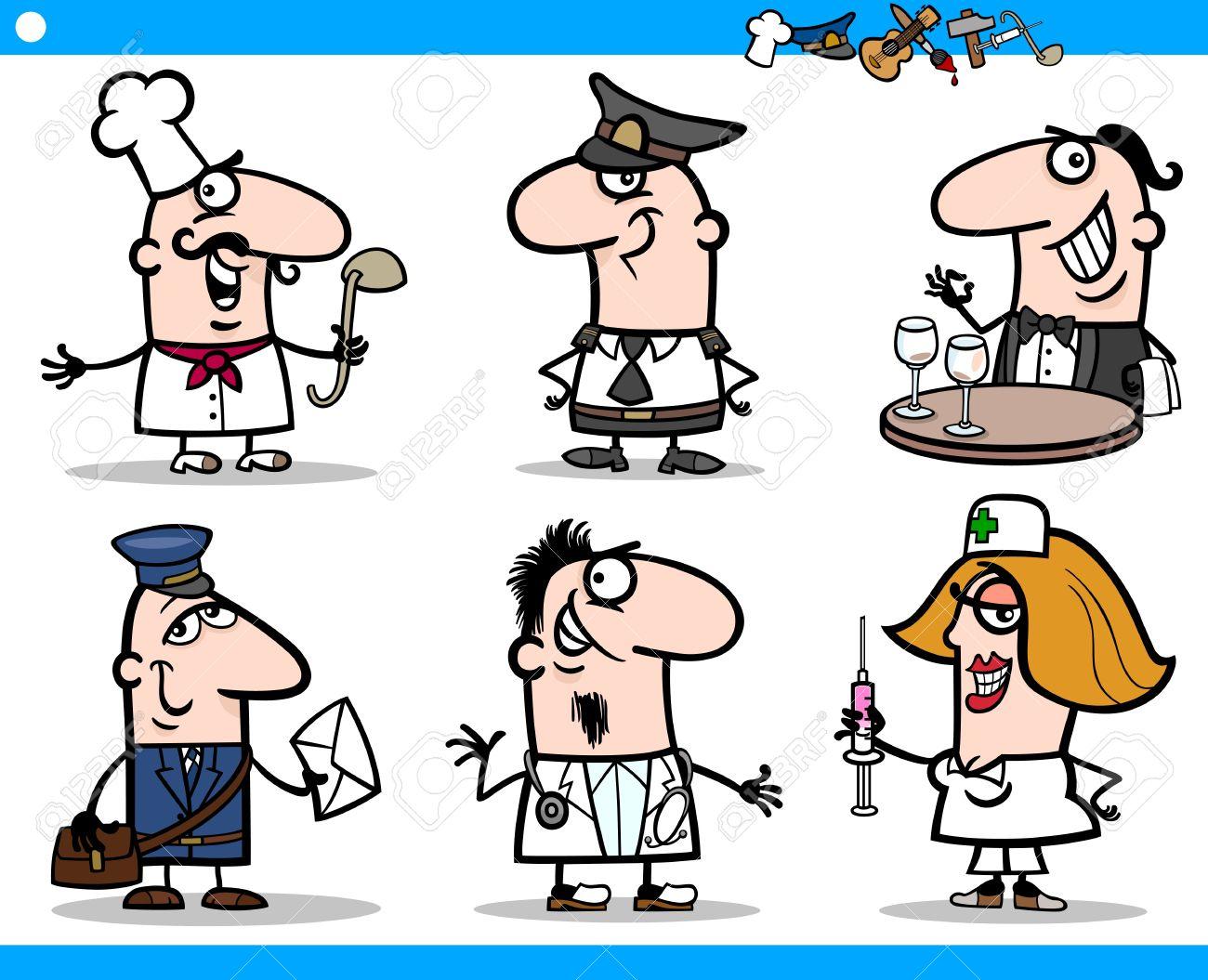 Ilustración De Dibujos Animados De Divertidos Profesionales De Ocupaciones De Personas Caracteres Set