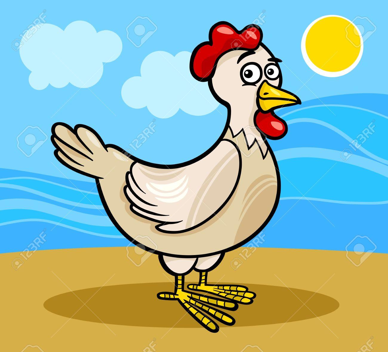 Cartoon Illustration of Funny Hen or Chicken Farm Bird Animal Stock Vector - 19139579